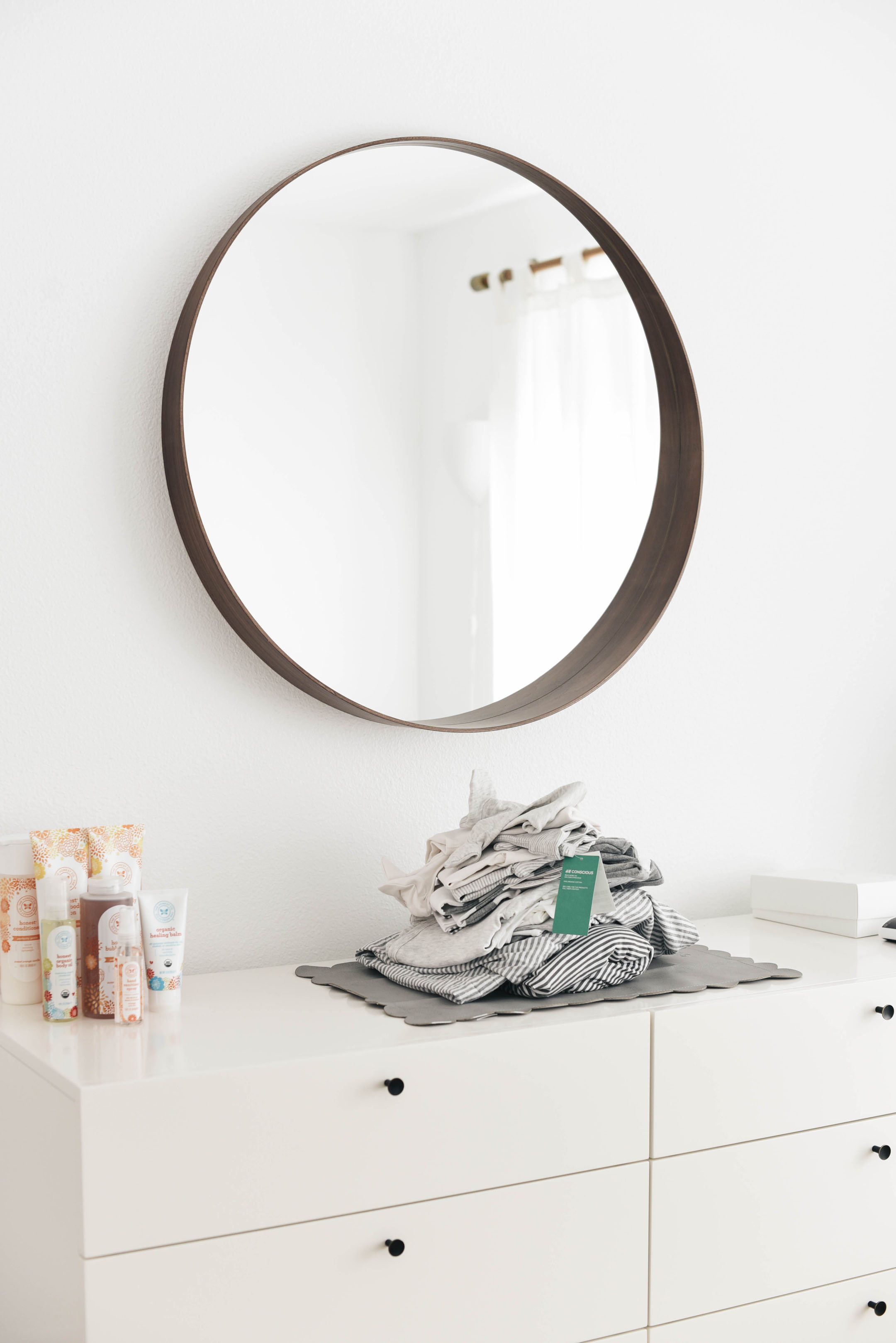 Ikea wood round mirror