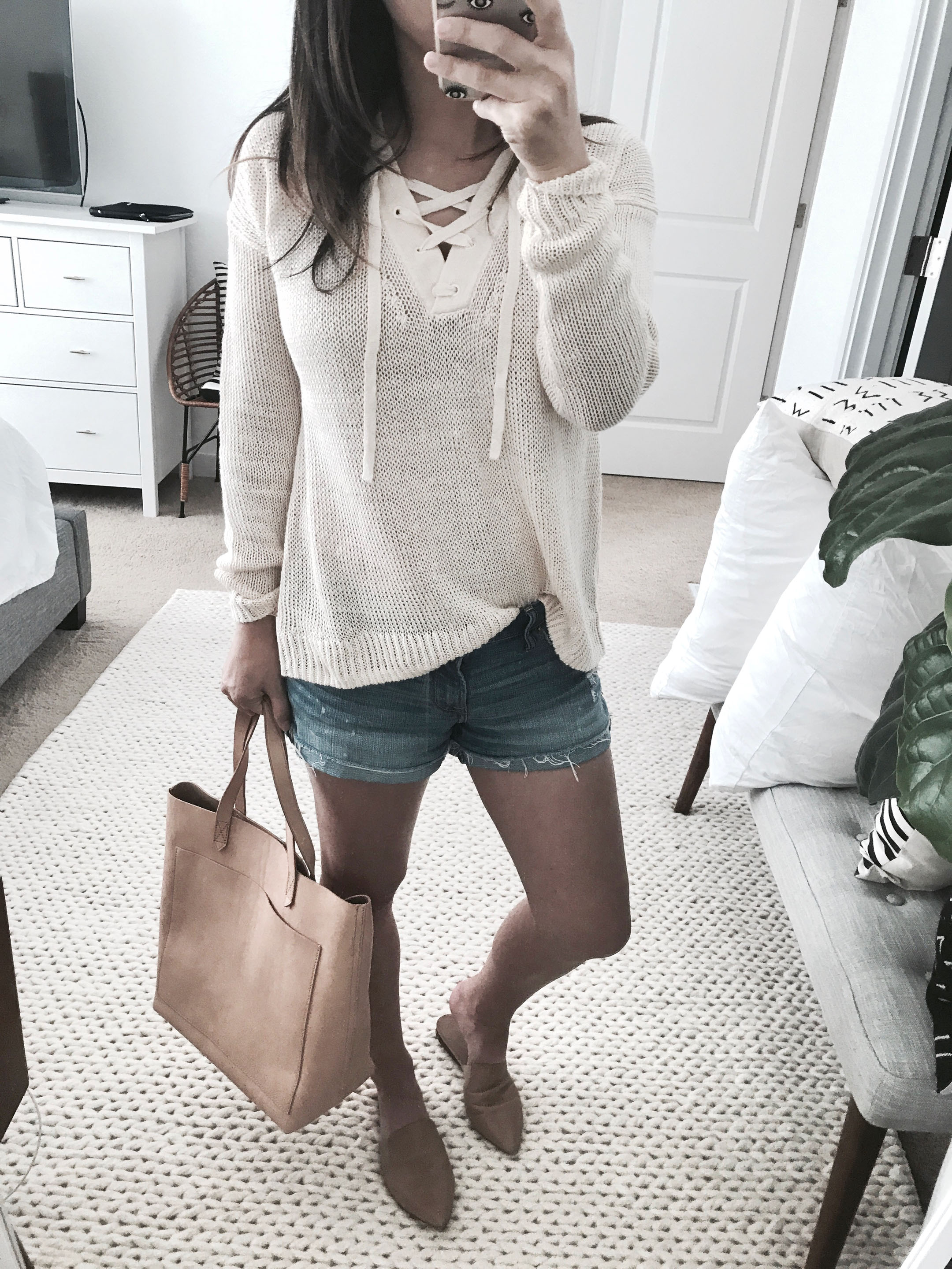 J.Crew lace up sweater