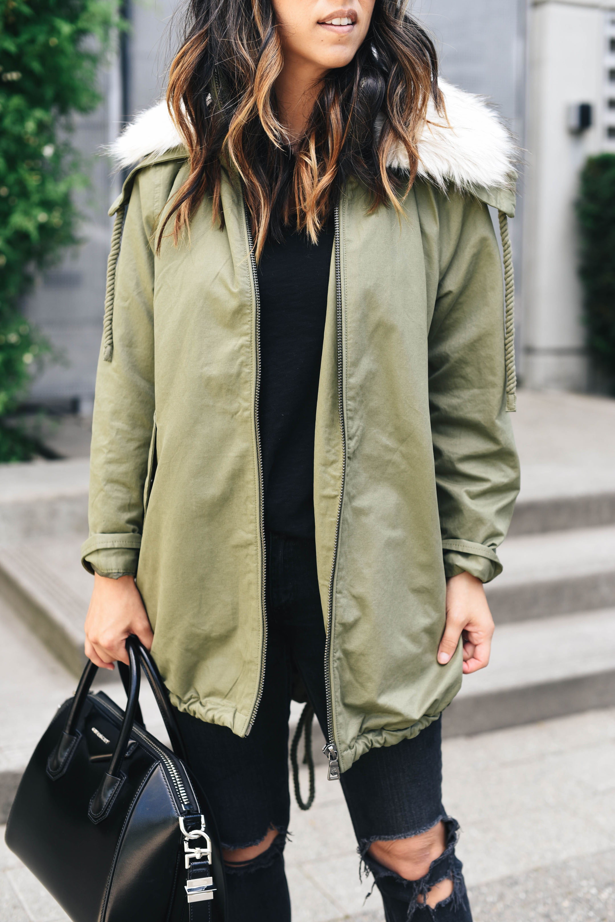 Sam Edelman anorak with faux fur hood