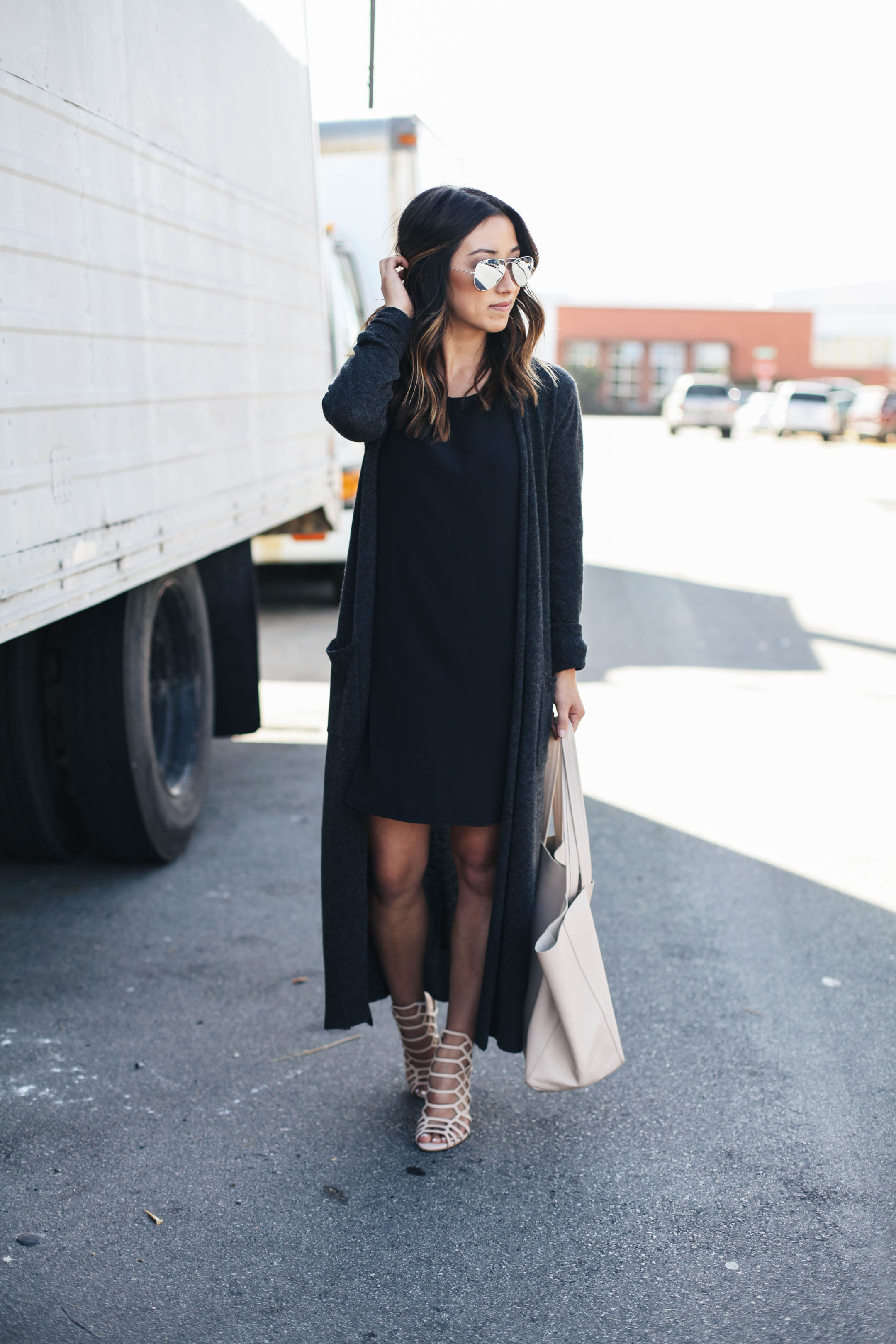 Silk dress with maxi cardigan