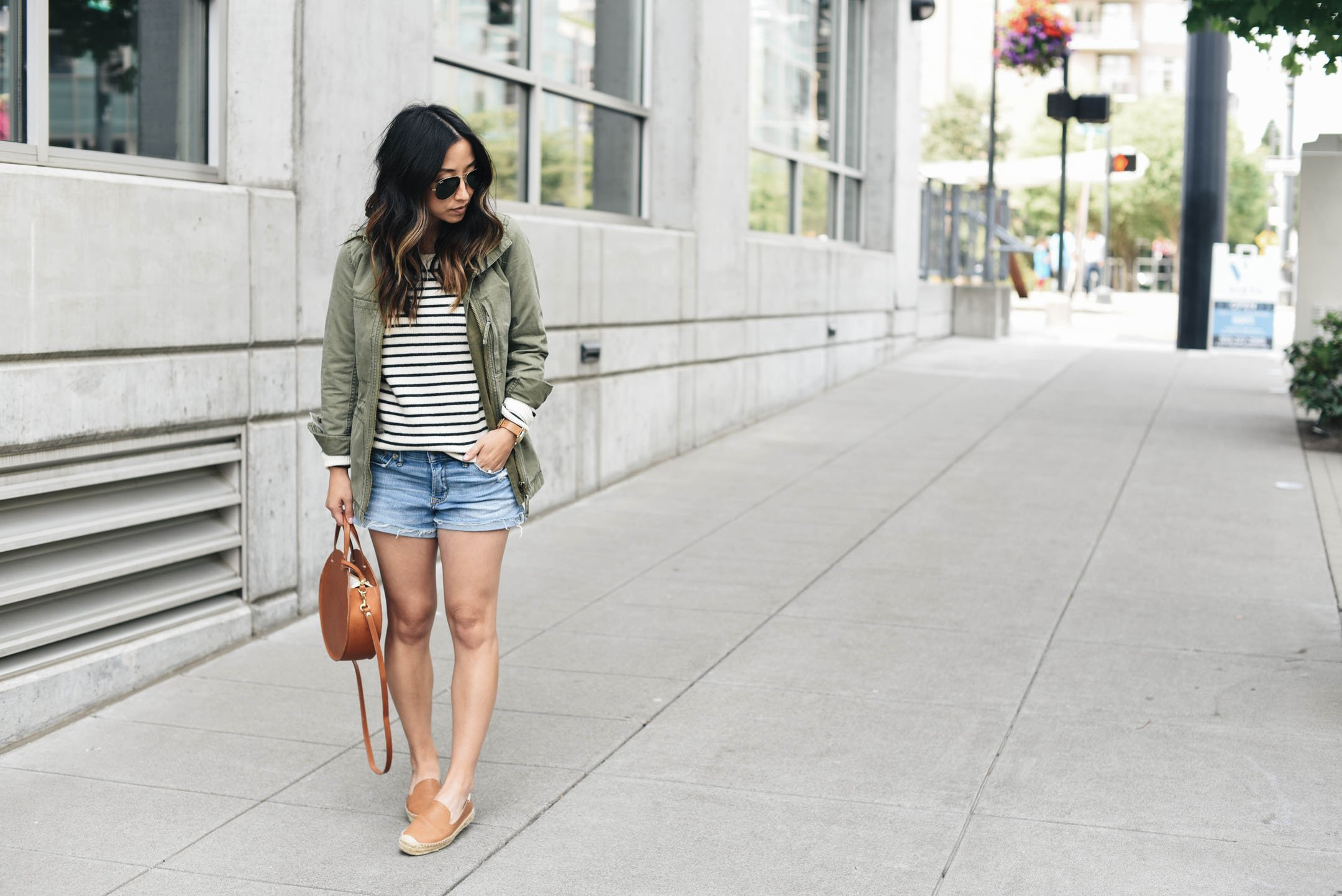 Sweater, utility jacket, and shorts
