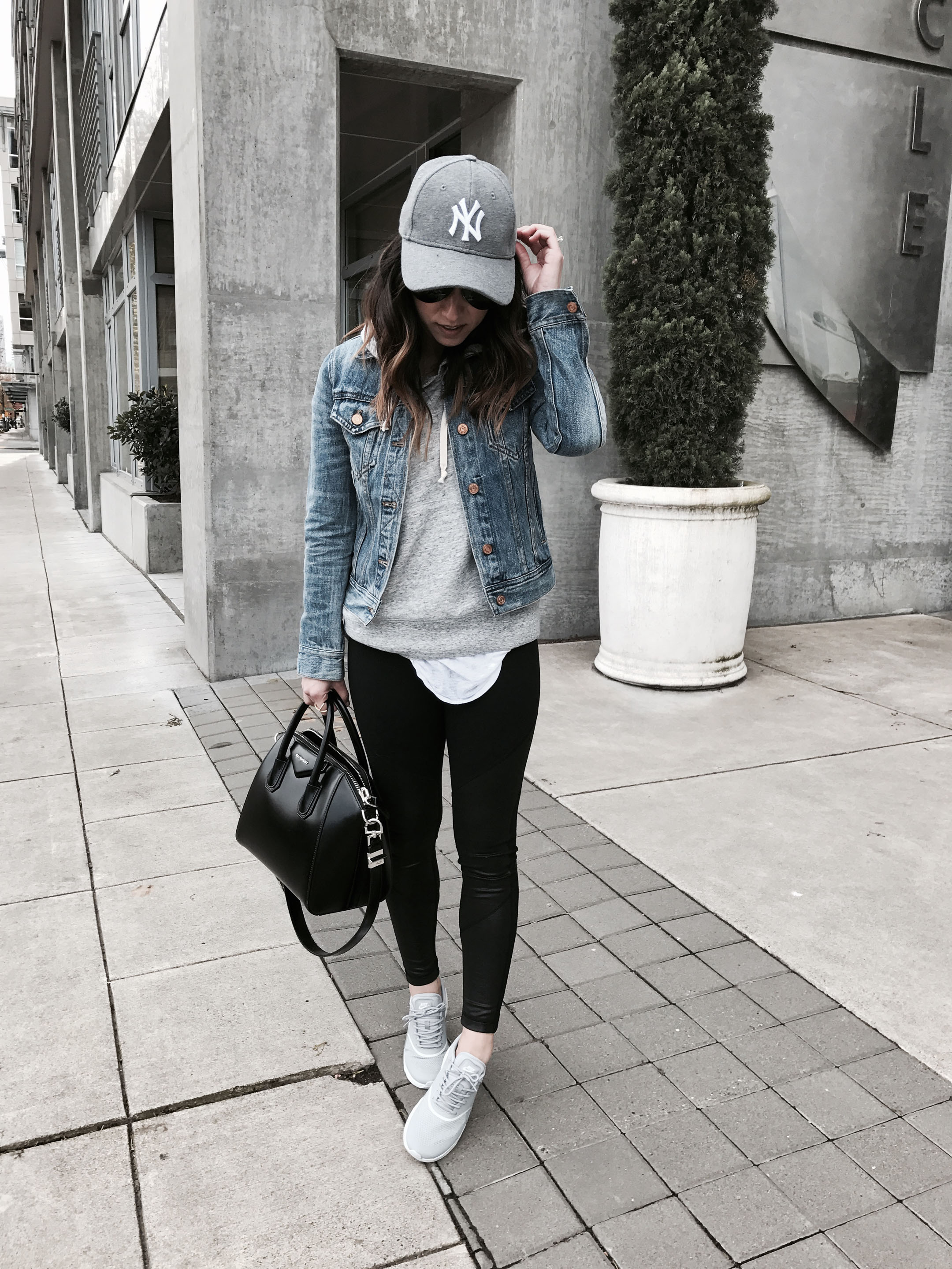 Athleisure with denim jacket