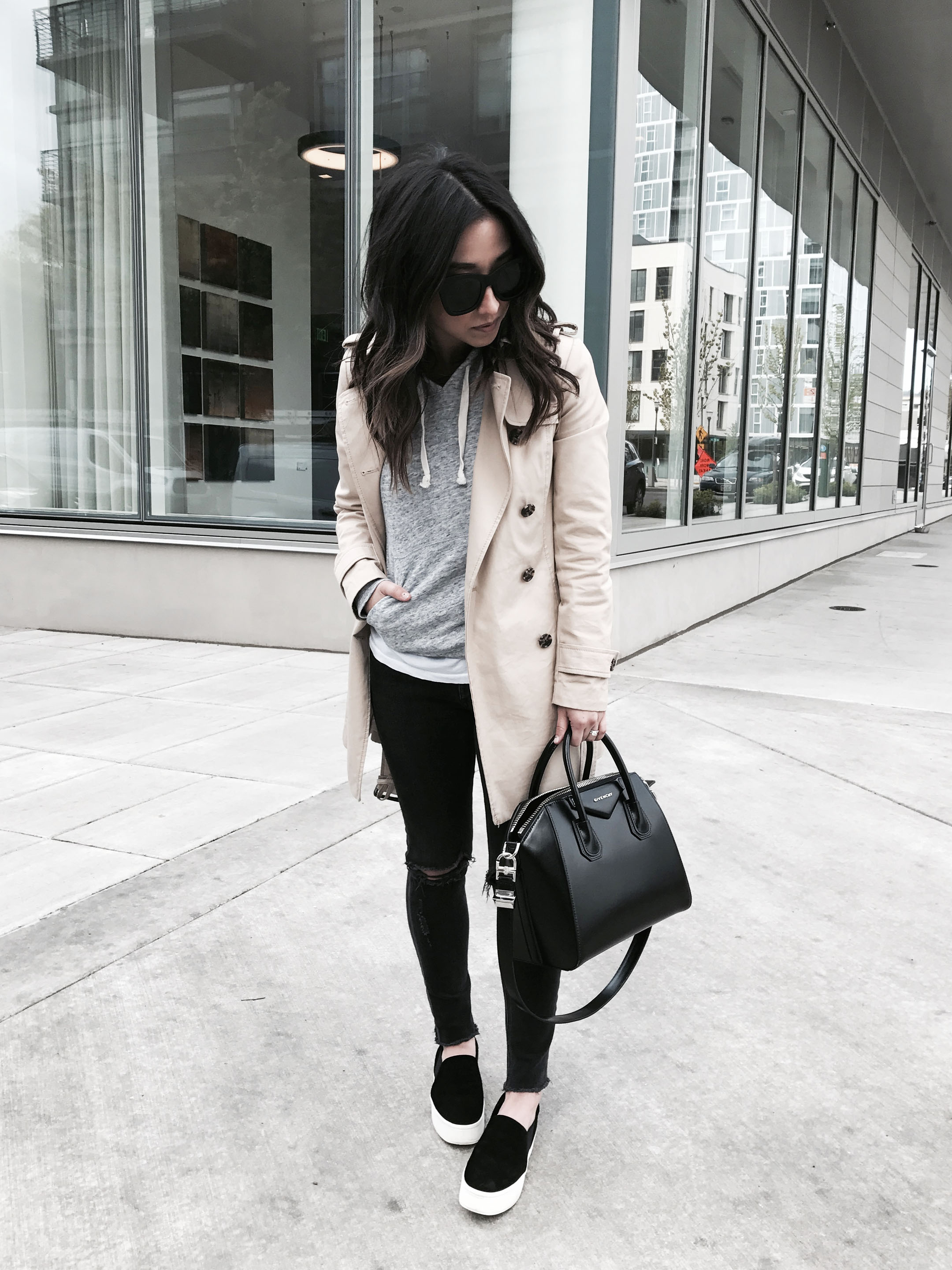 Athleisure with trench coat