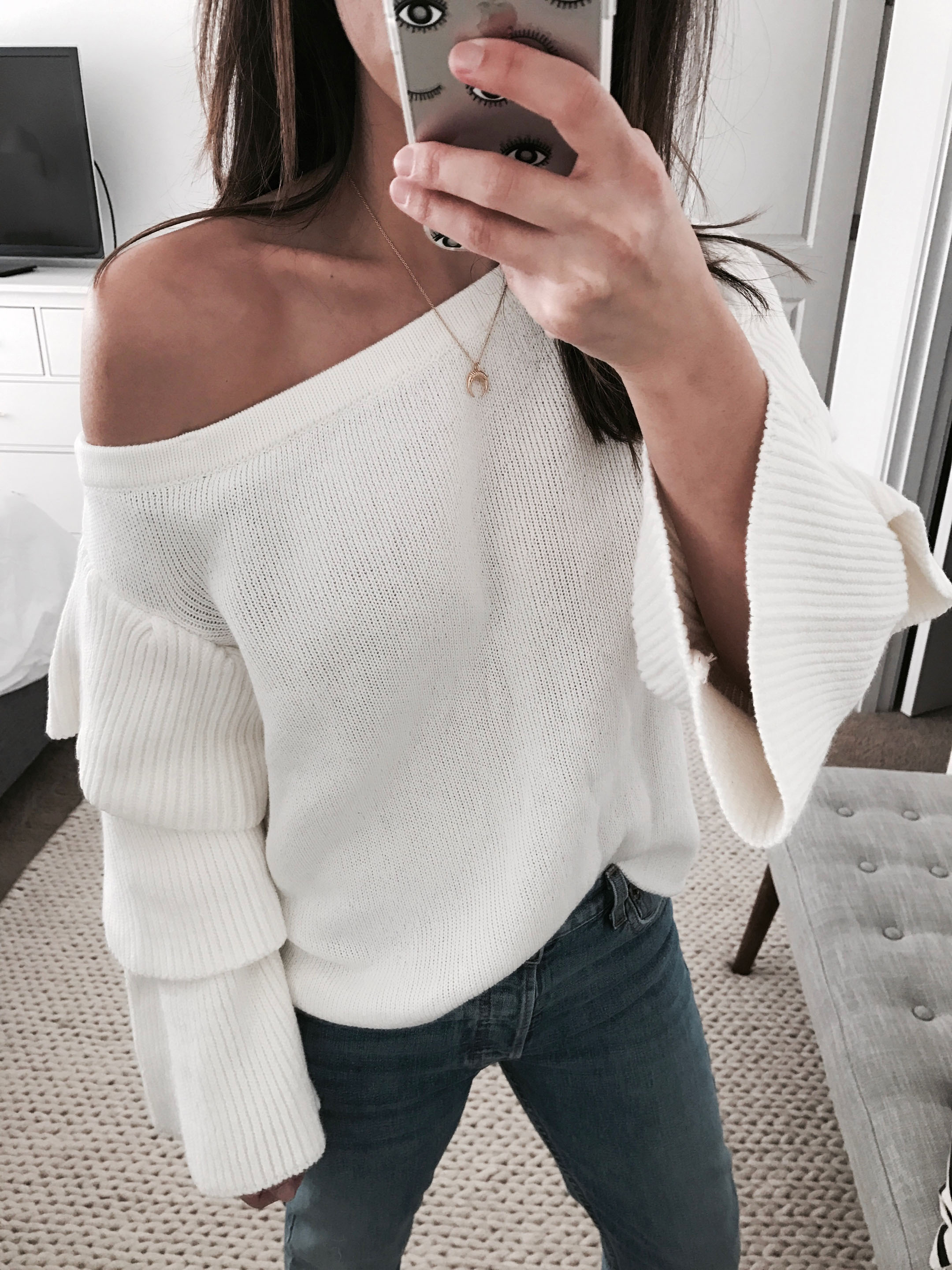 Endless rose off the shoulder ruffle sweater