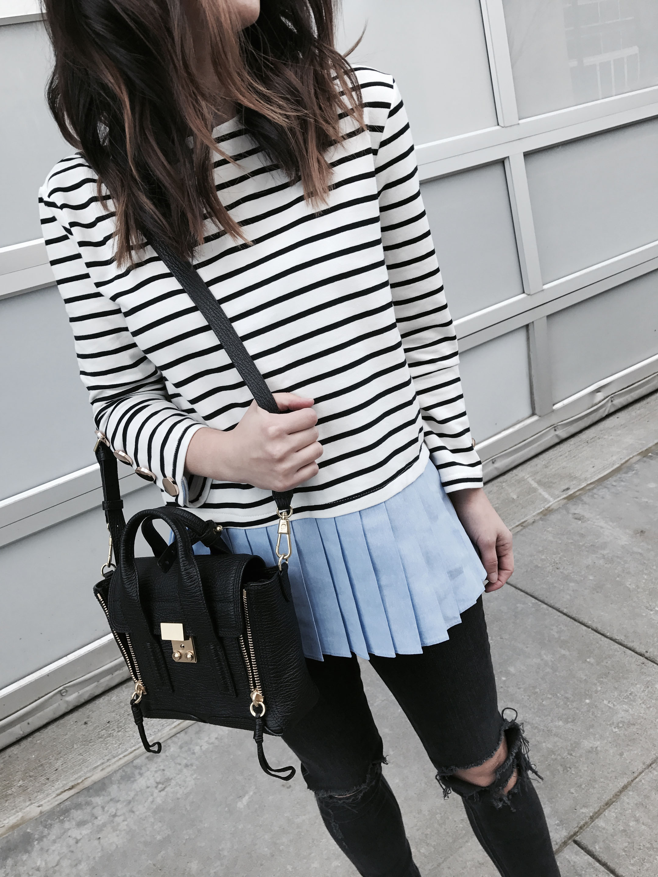 English Factory ruffle stripe top