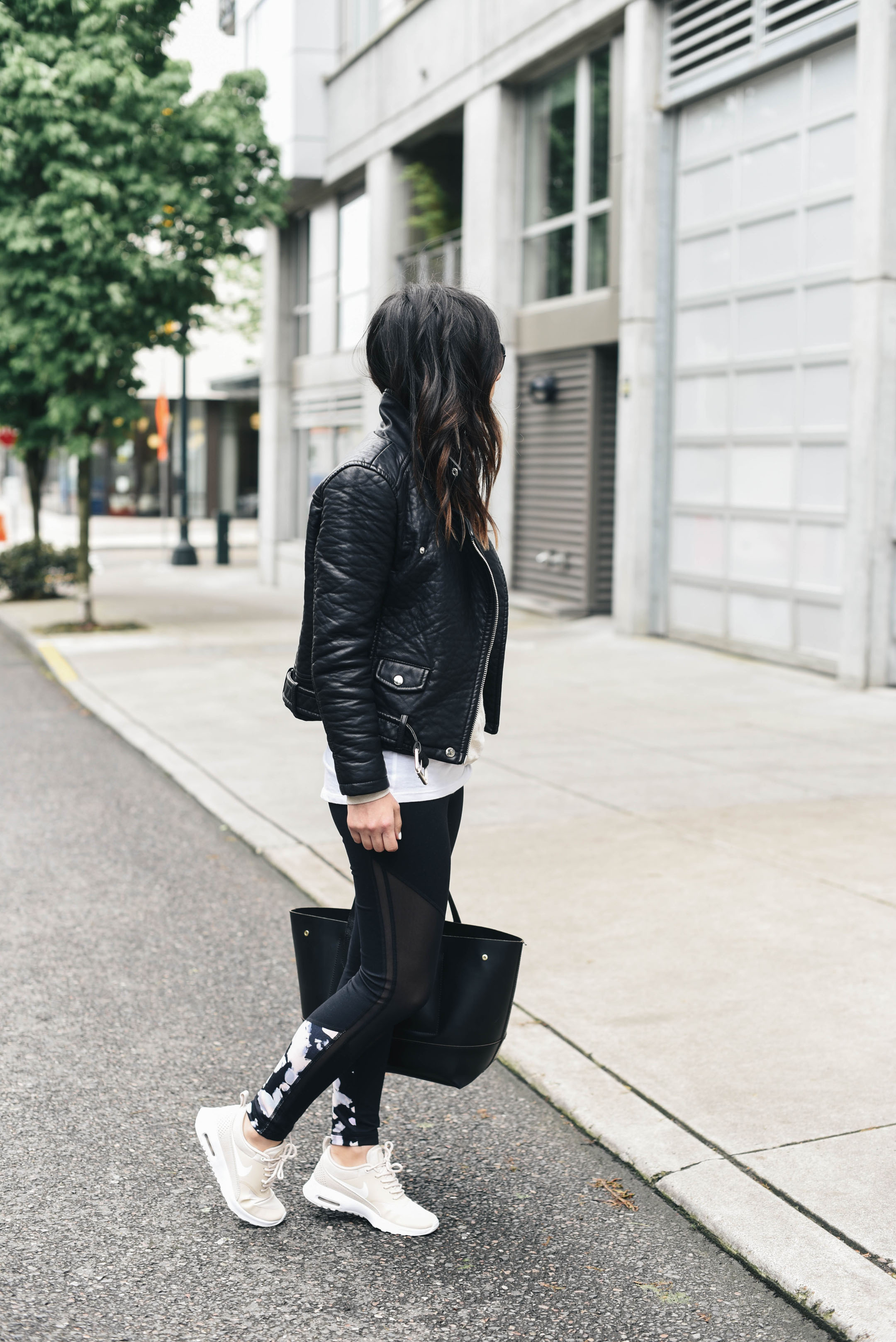 Leather jacket with athleisure