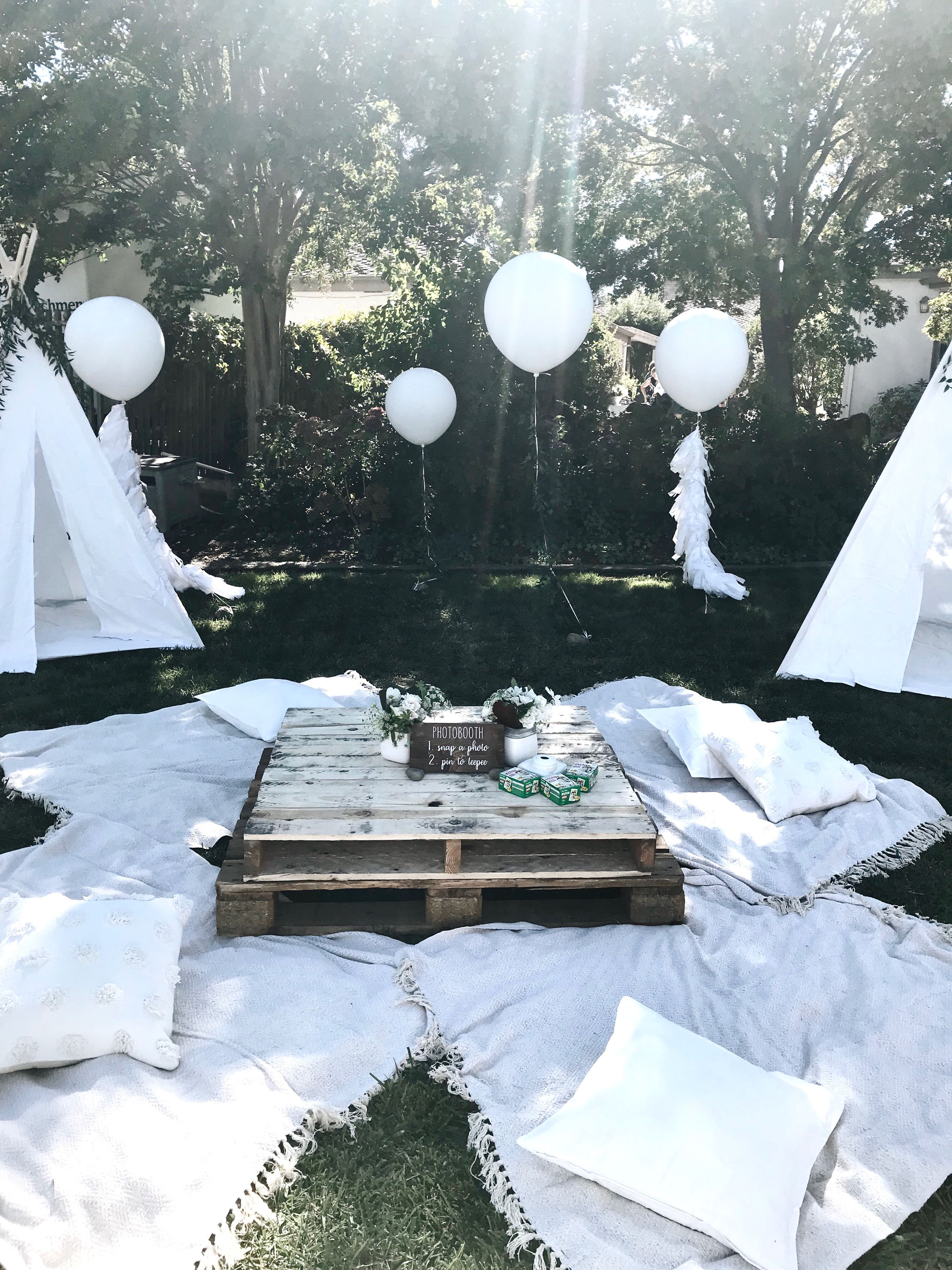 Backyard neutral baby shower