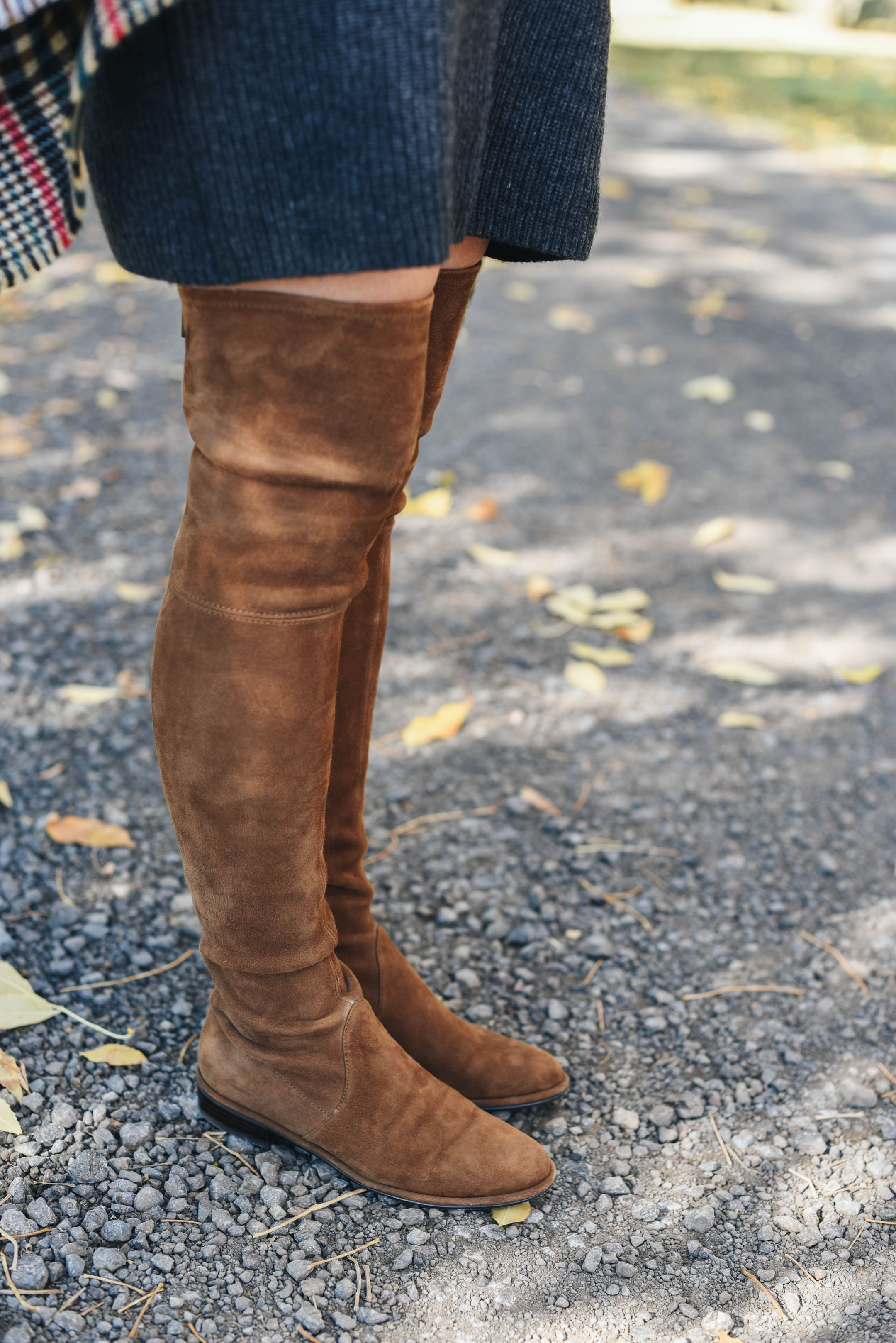 Stuart Weitzman lowland OTK boots in nutmeg