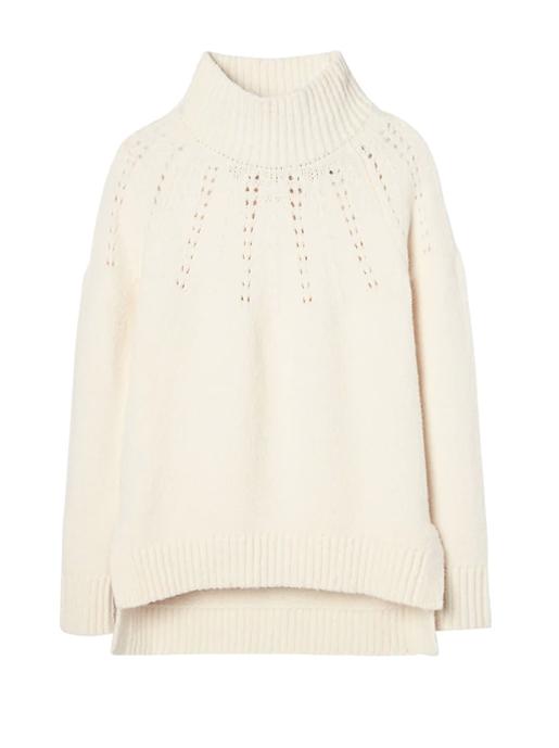 BR cream mock neck sweater