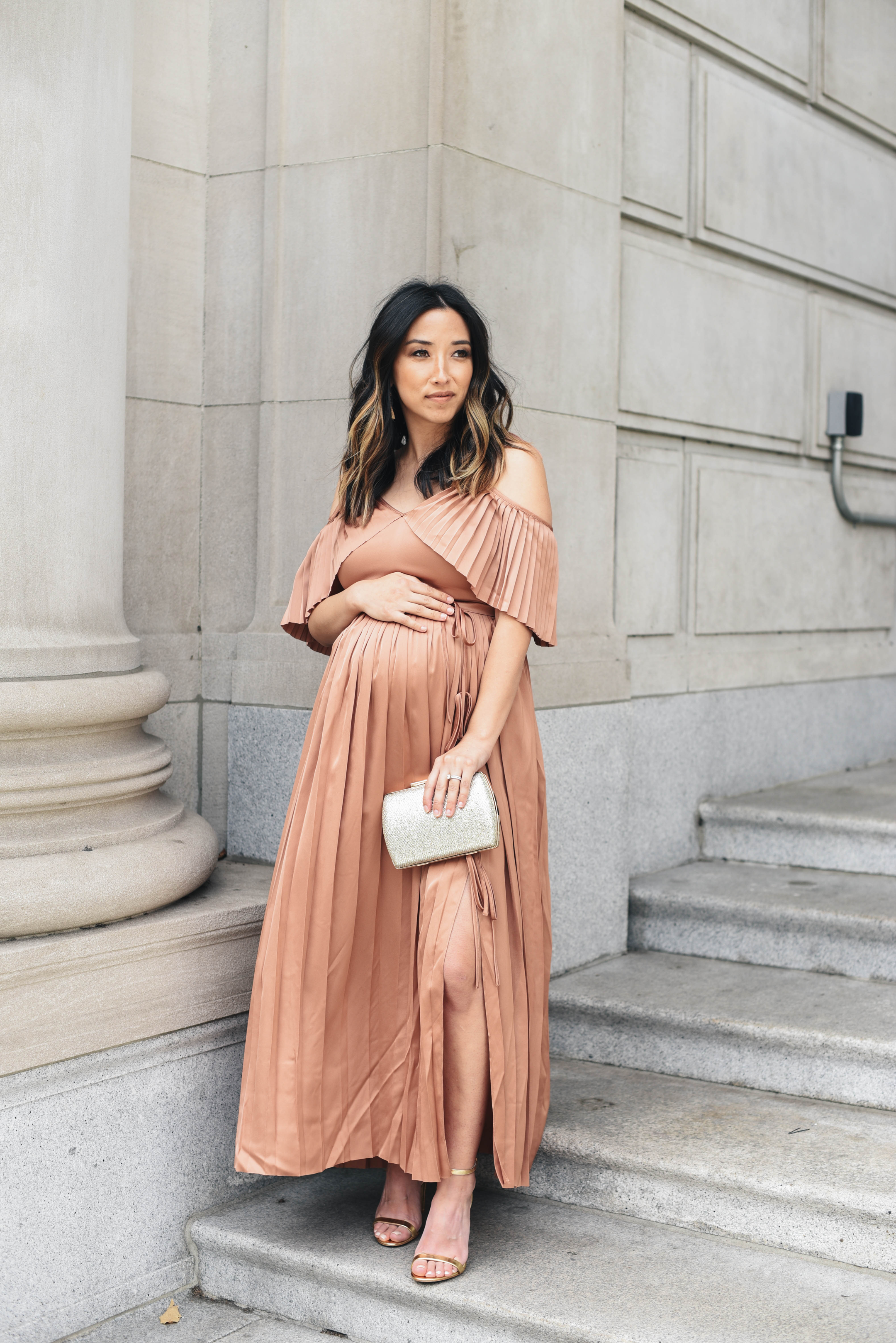 Banana Republic x Olivia Palermo Pleated Off-the-Shoulder Maxi Dress