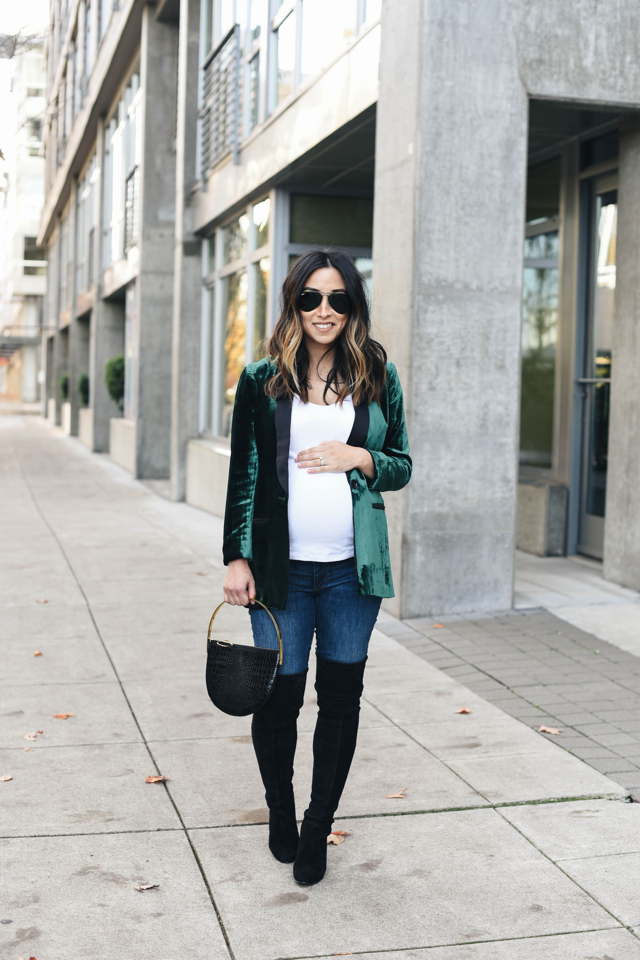 Anthropologie Green velvet blazer