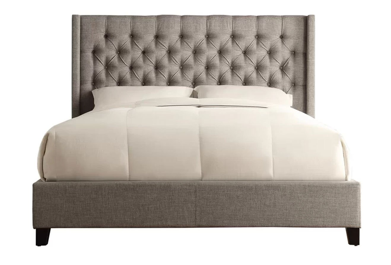 Declare 3 dots upholstered bed in gray