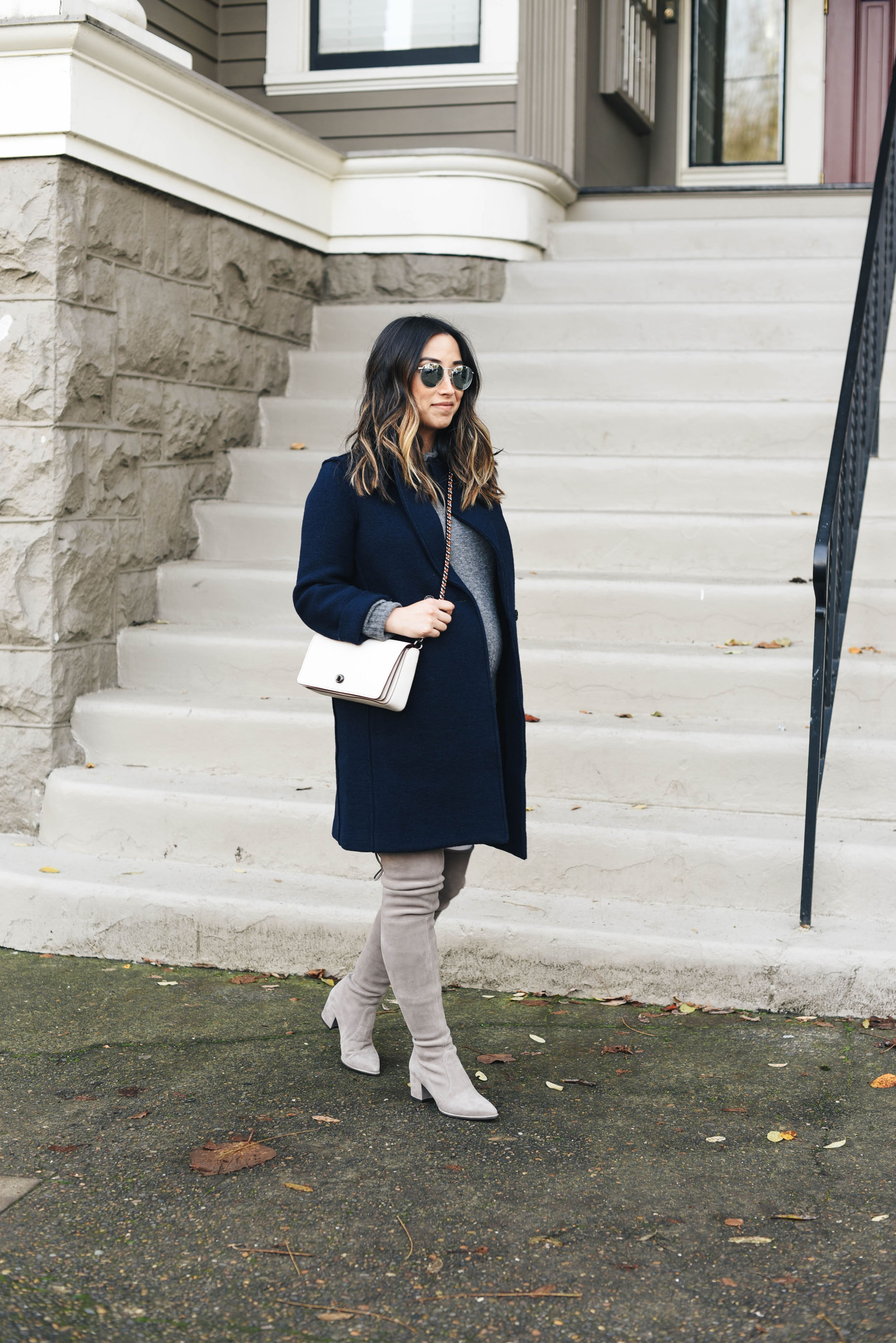 Stuart Weitzman thighland boots in topo gray