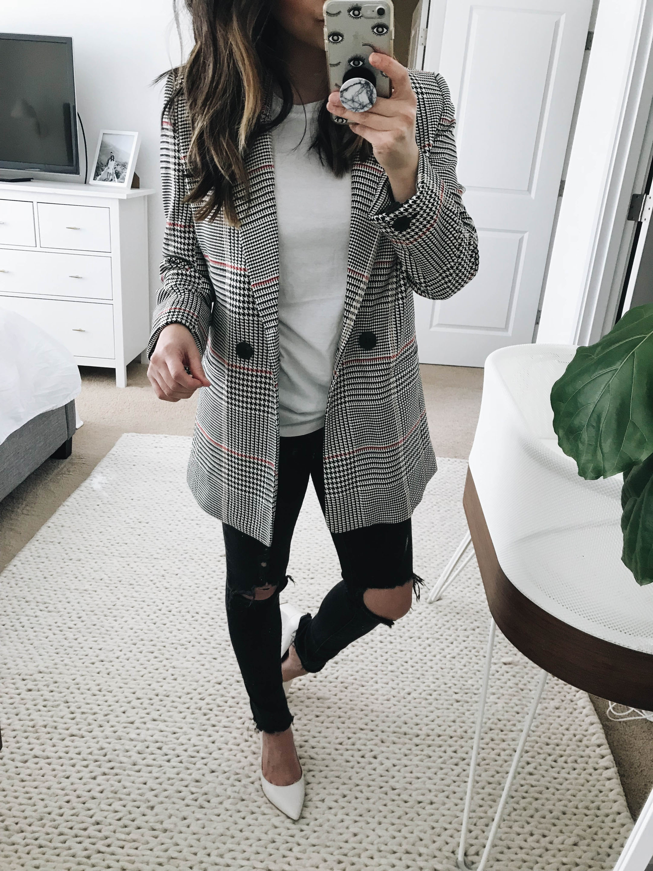Anine Bing Plaid Blazer 3