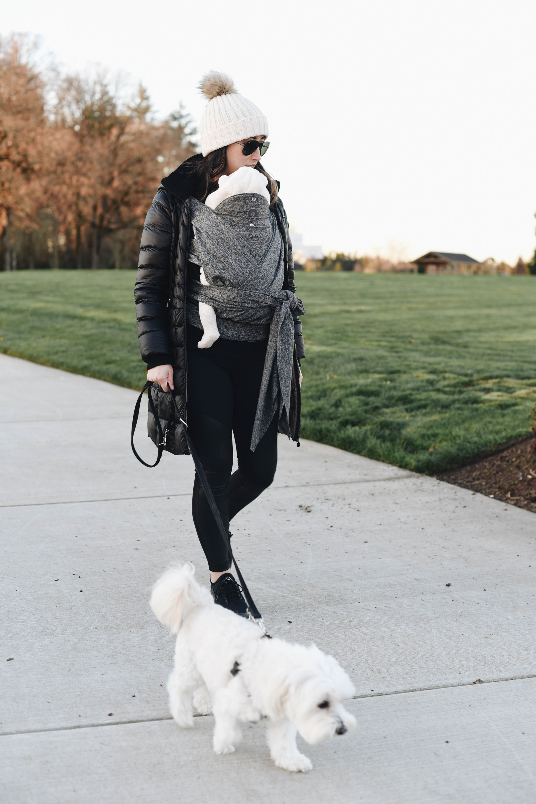 Boppy comfyfit baby carrier walking the dog