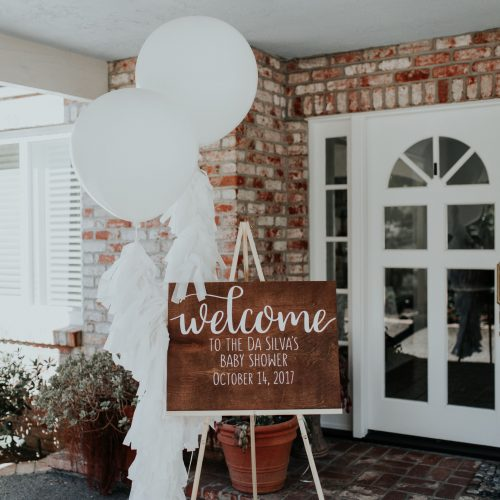 Crystalin Marie Baby Shower wooden welcome sign