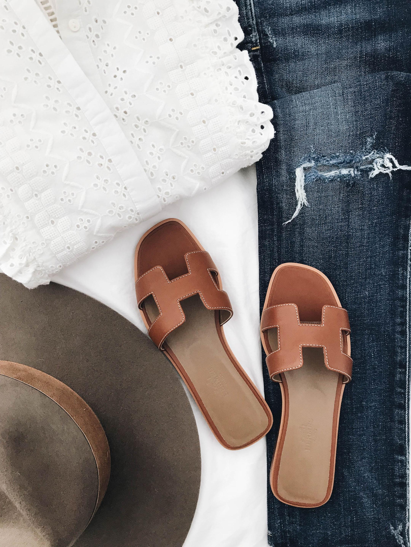 Designer Dupe Hermes Oran Sandals Crystalin Marie