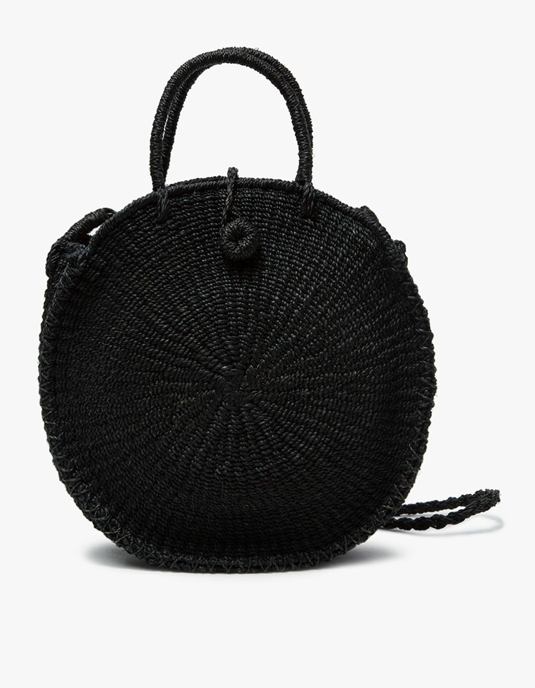 black round wicker bag