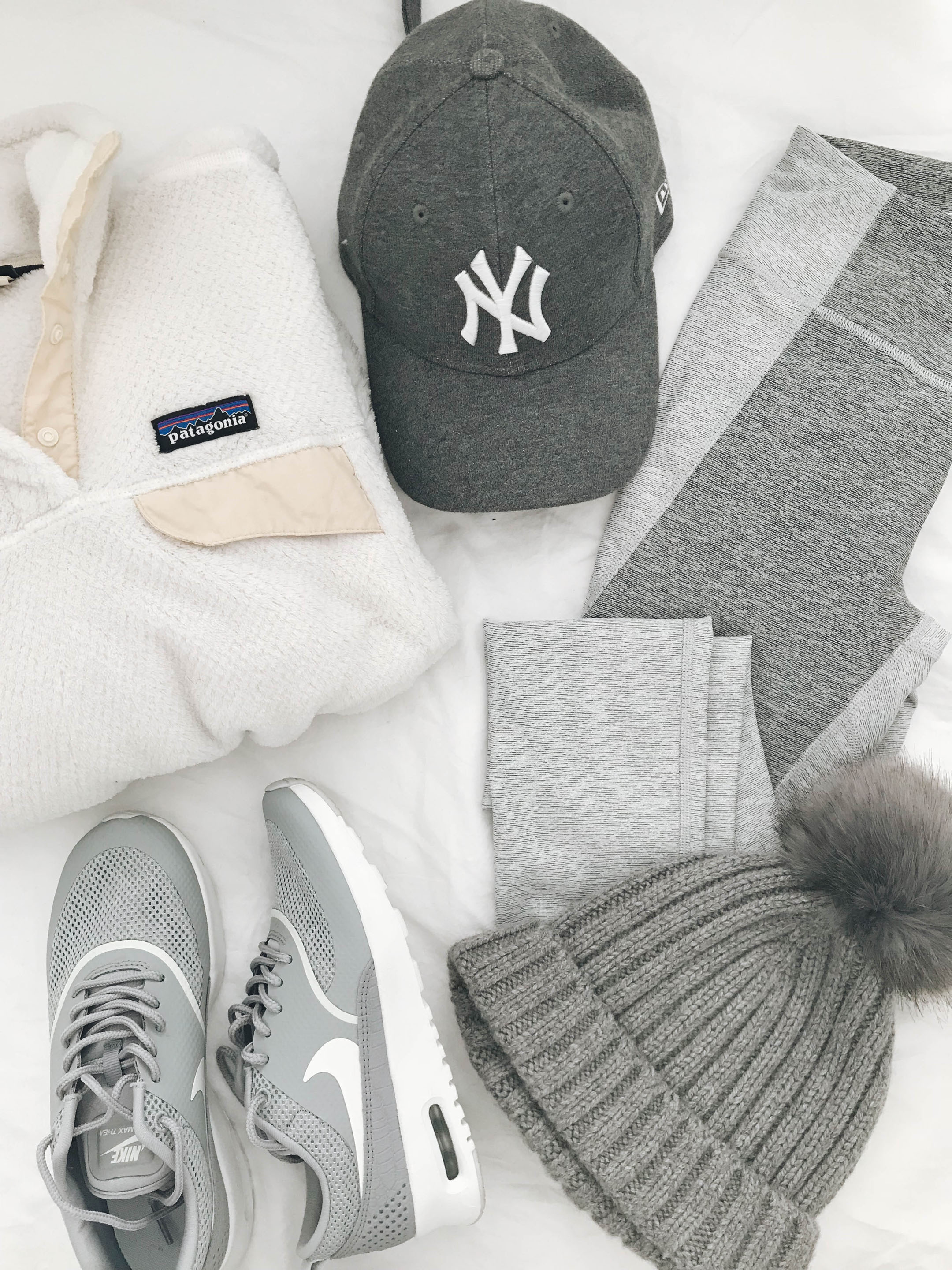 gray and white athleisure outfit inspiration