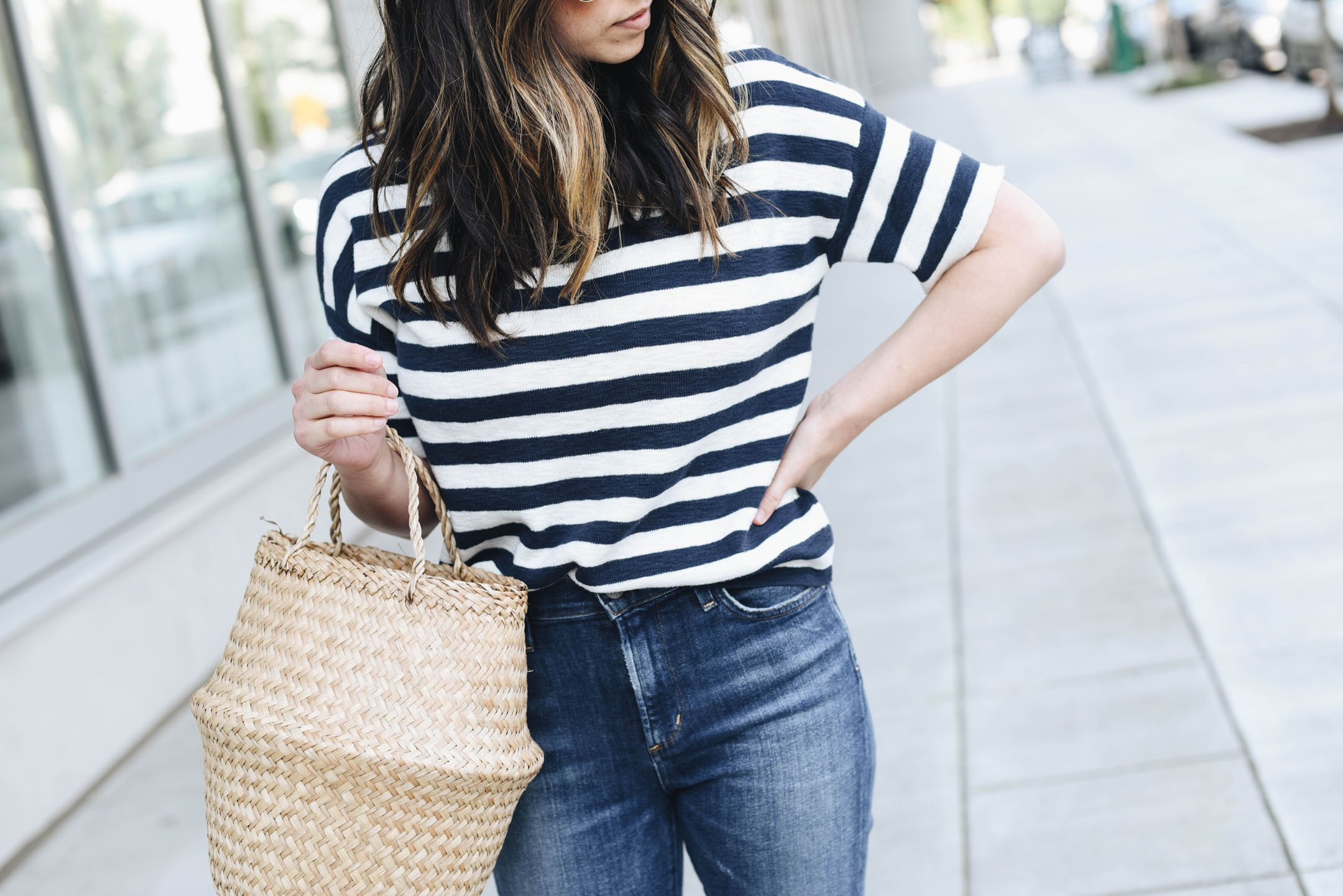 Madewell stripe cropped sweater
