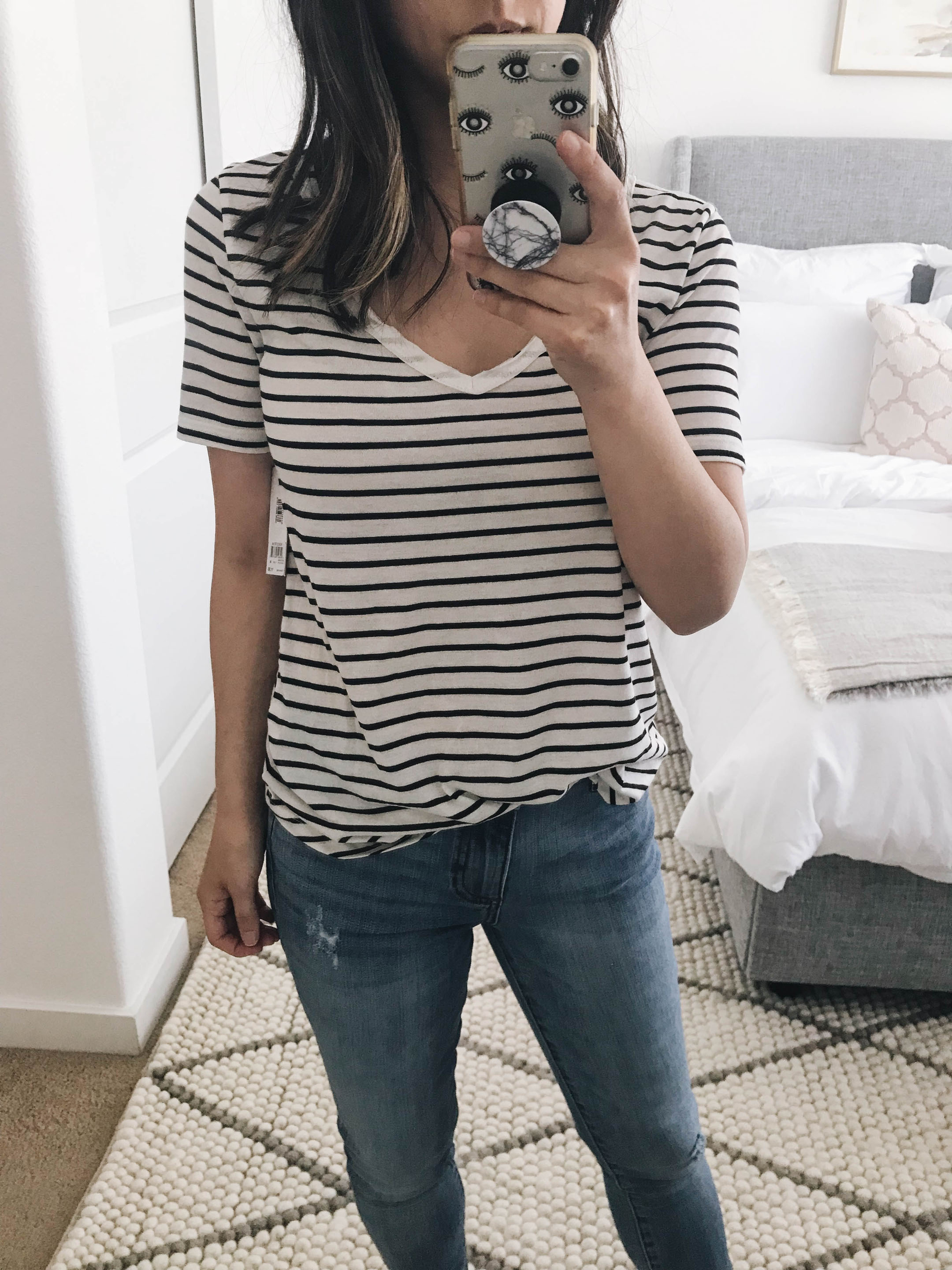 BP striped v neck tee