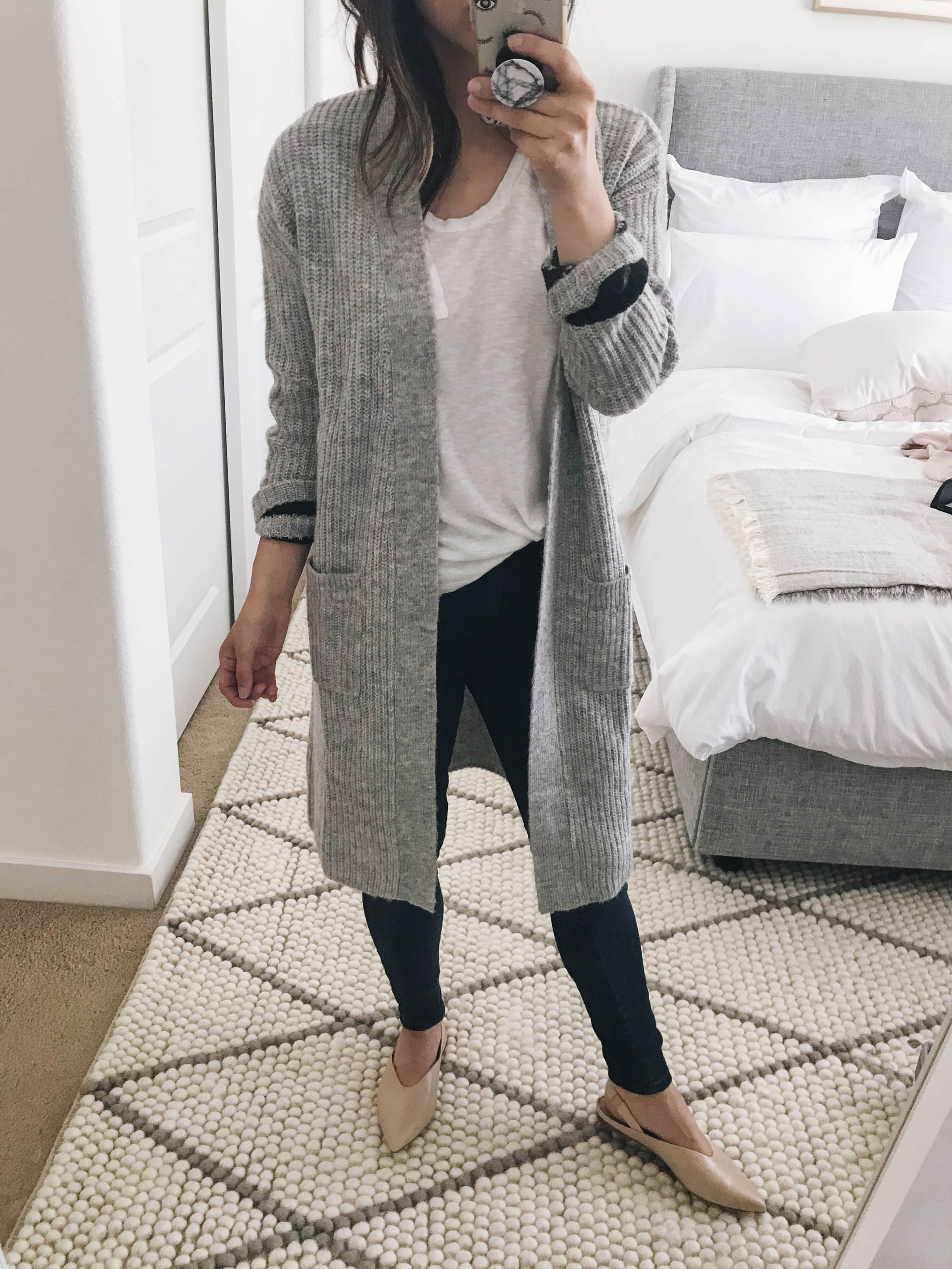 Halogen ribbed cardigan gray