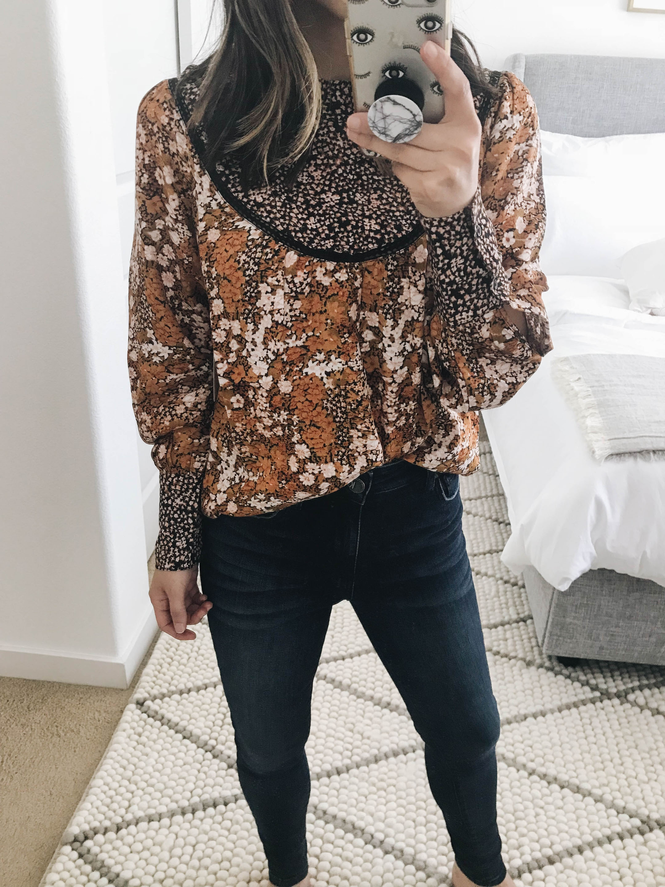 Hinge mix print top