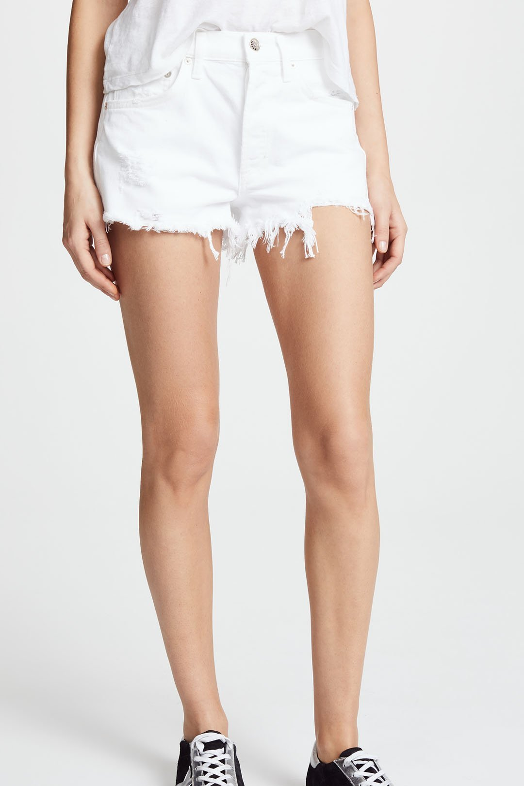 Agolde white denim shorts 1