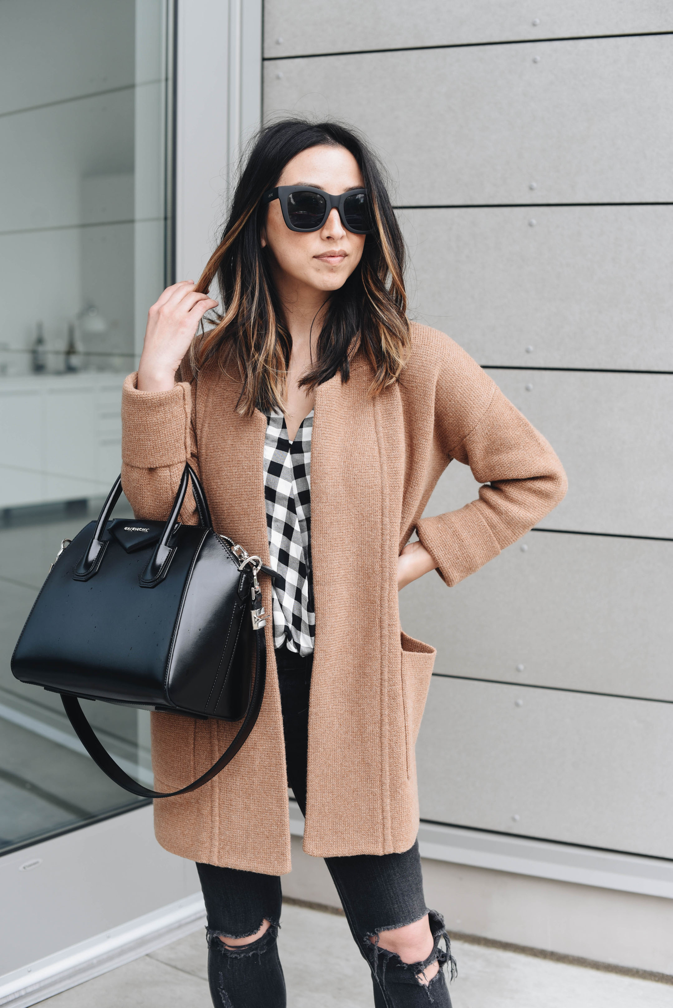 Madewell camel sweater coat