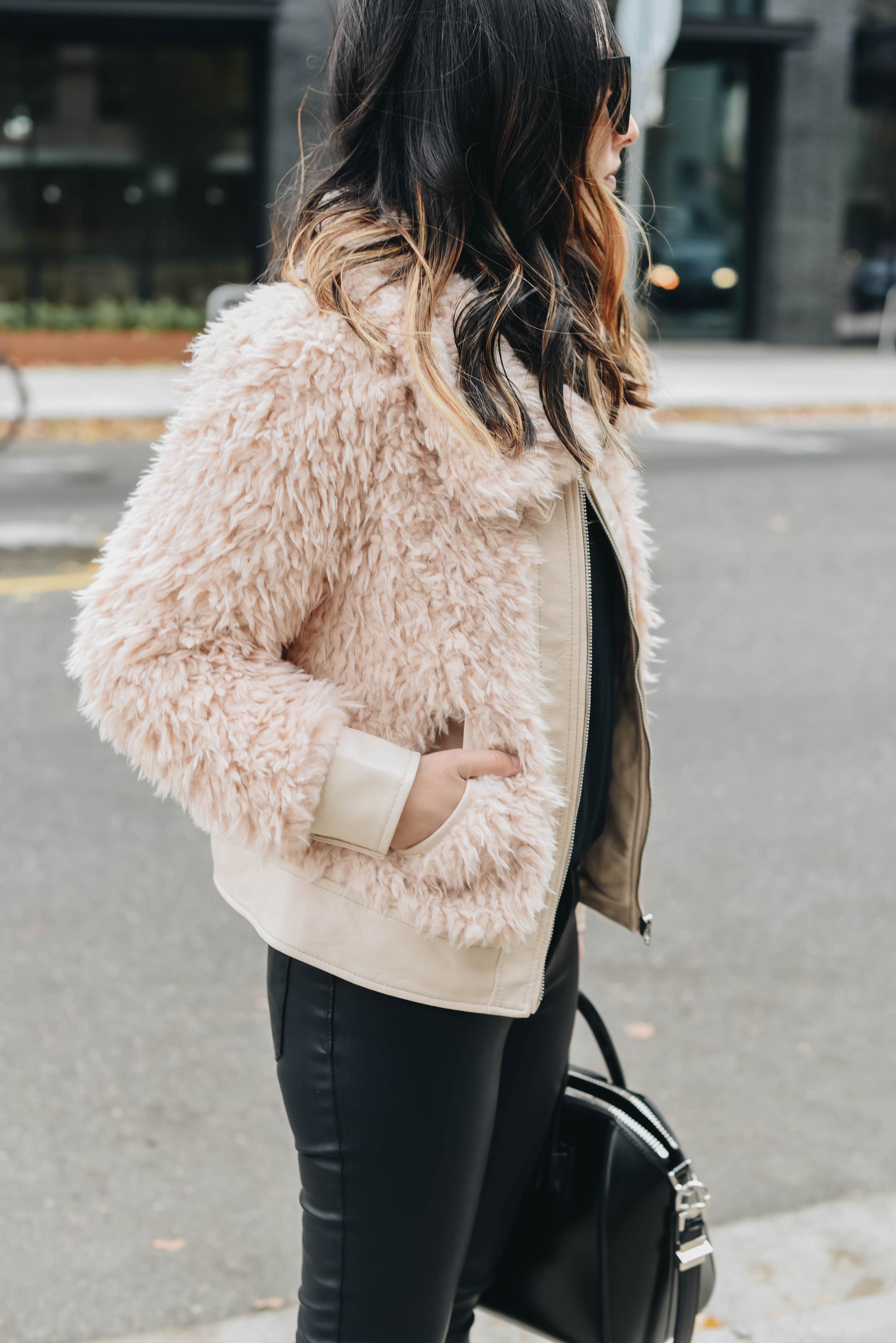 Pink faux fur jackets