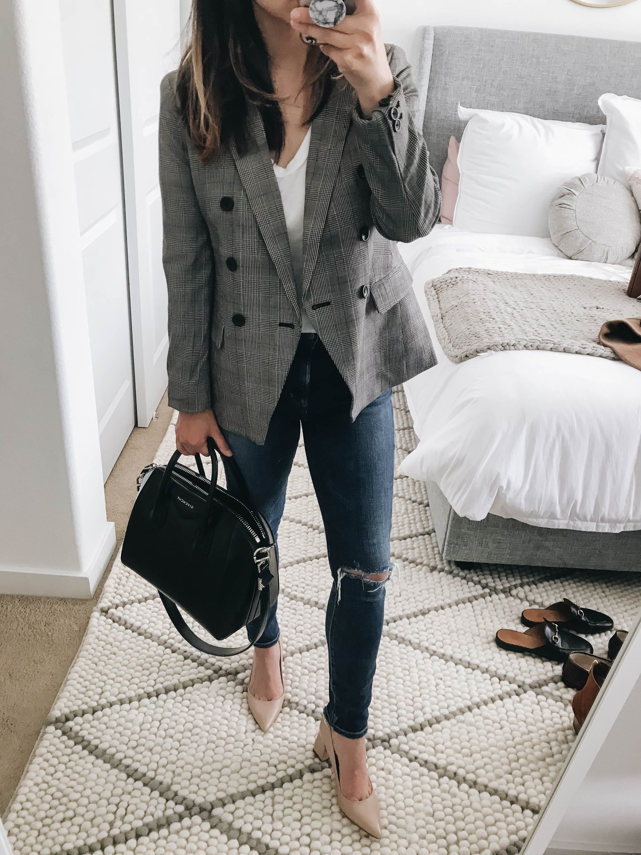 Plaid blazer with pumps