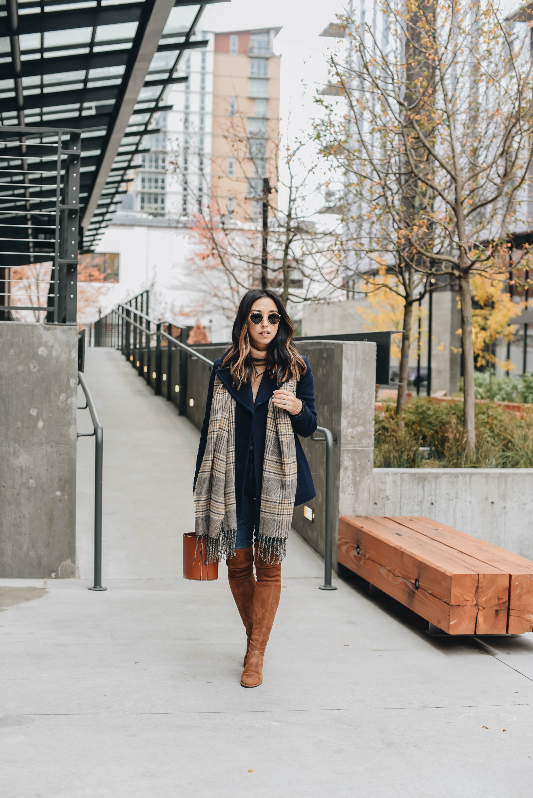 Plaid scarf and tans