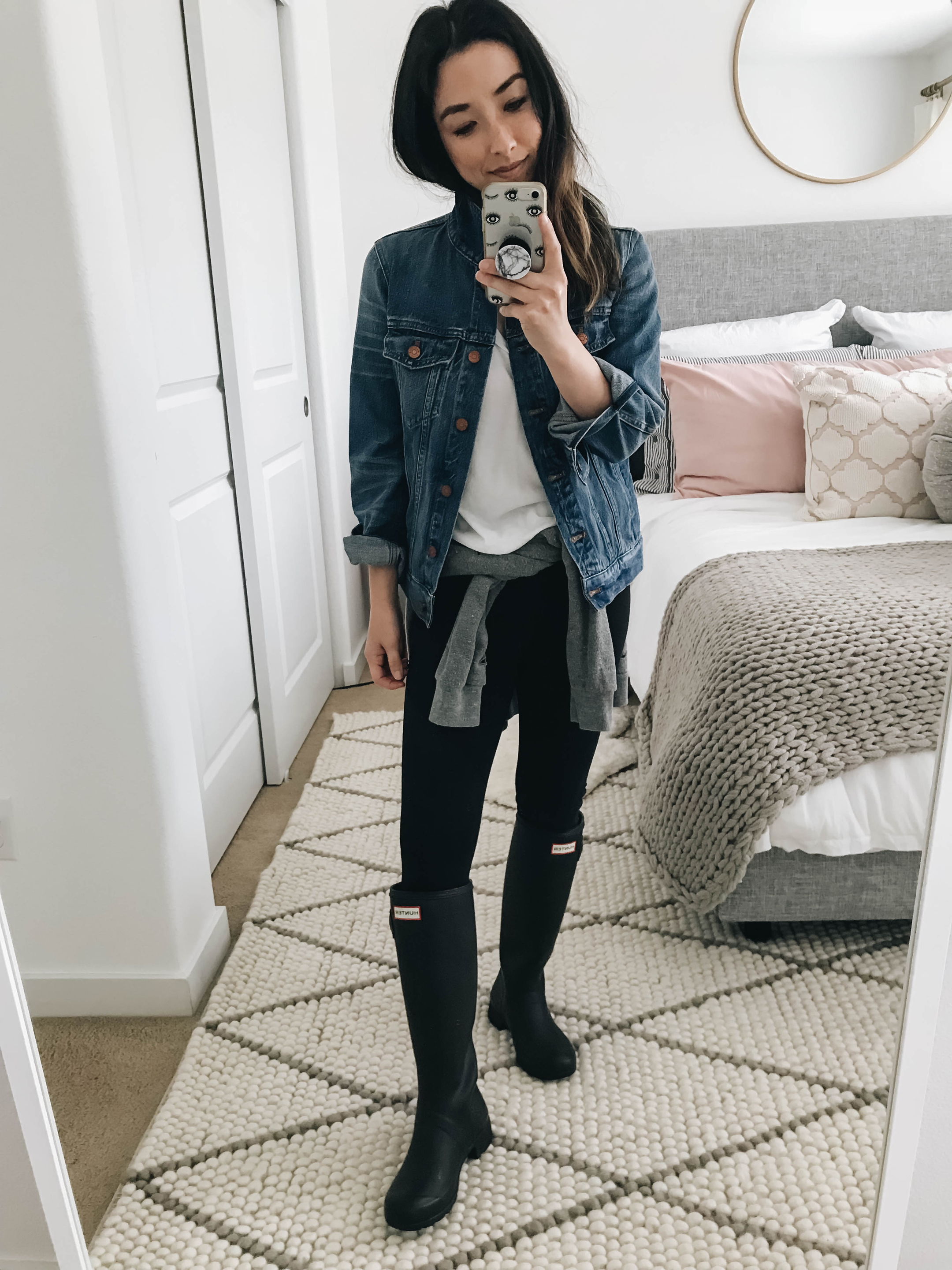 Rain boots and denim jacket