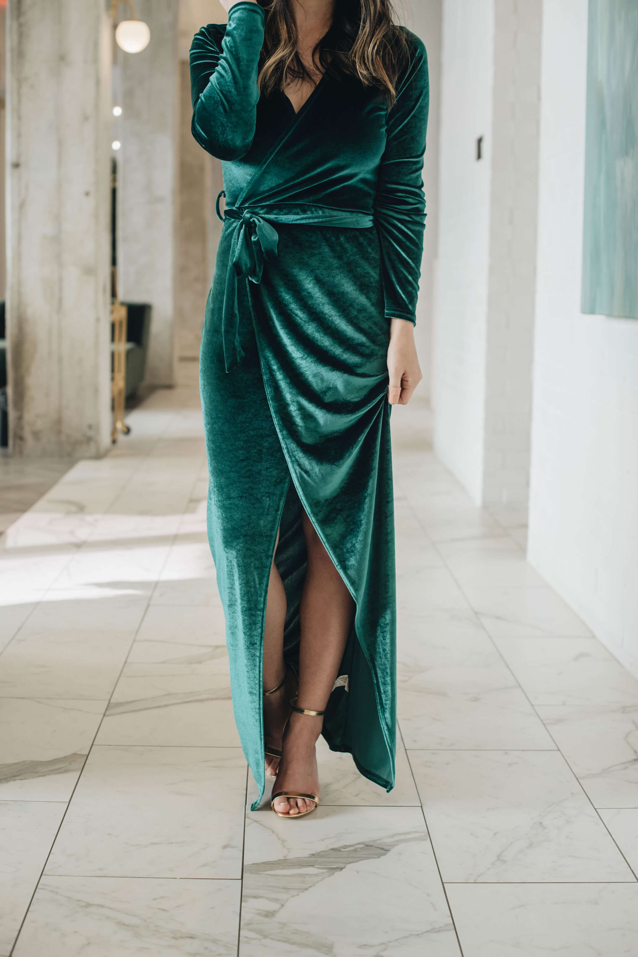 Green velvet floor length dress