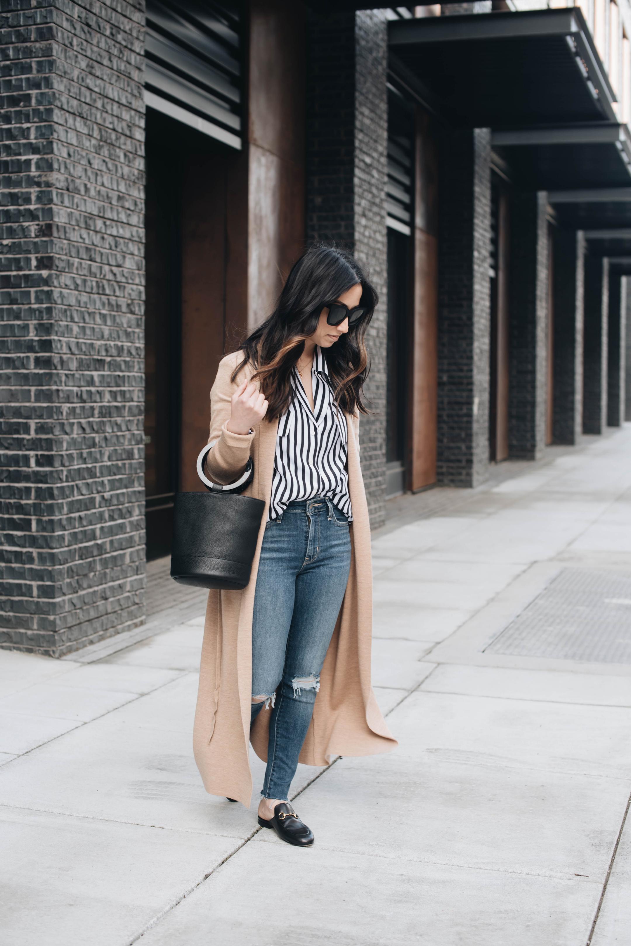 Frame Striped button down blouse
