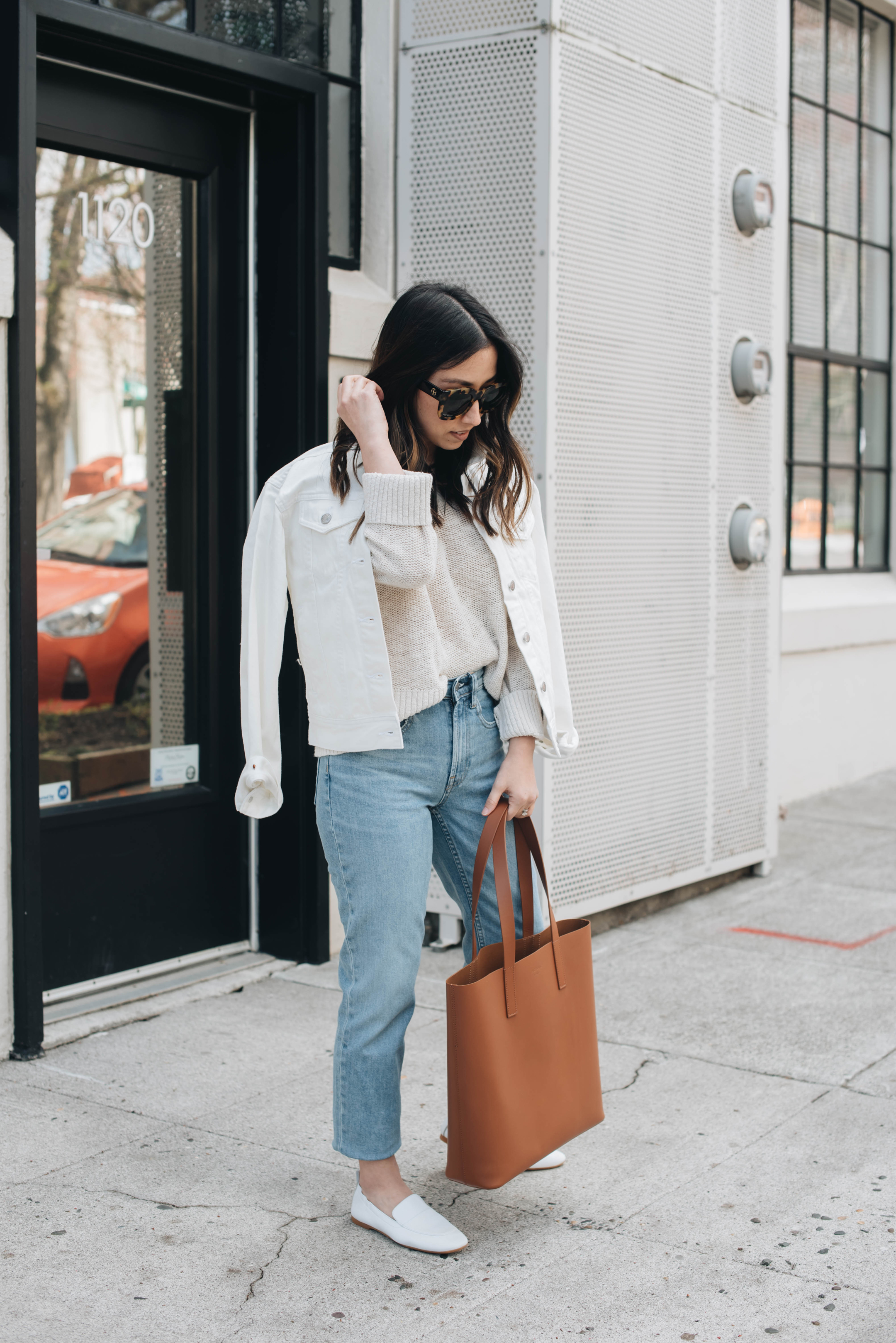 Everlane white denim jacket
