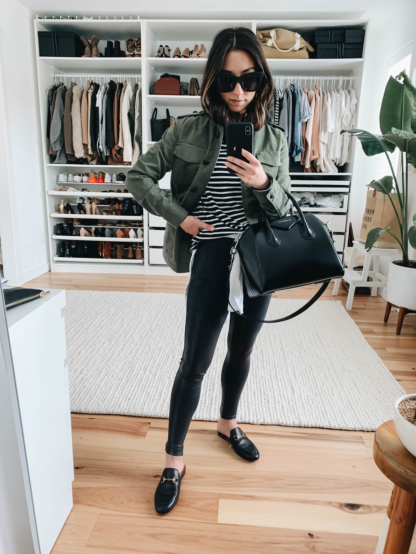 2ca06a92297be Banana Republic jacket petite xxs, Spanx faux leather leggings petite xs,  Madewell tee xxs (sold out, similar), Gucci mules 35, Givenchy Antigona  satchel ...