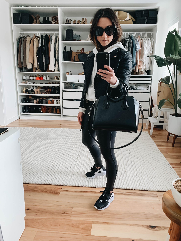 a20dea6e33f49 Spanx Faux Leather Leggings Styled 7 Ways - Crystalin Marie