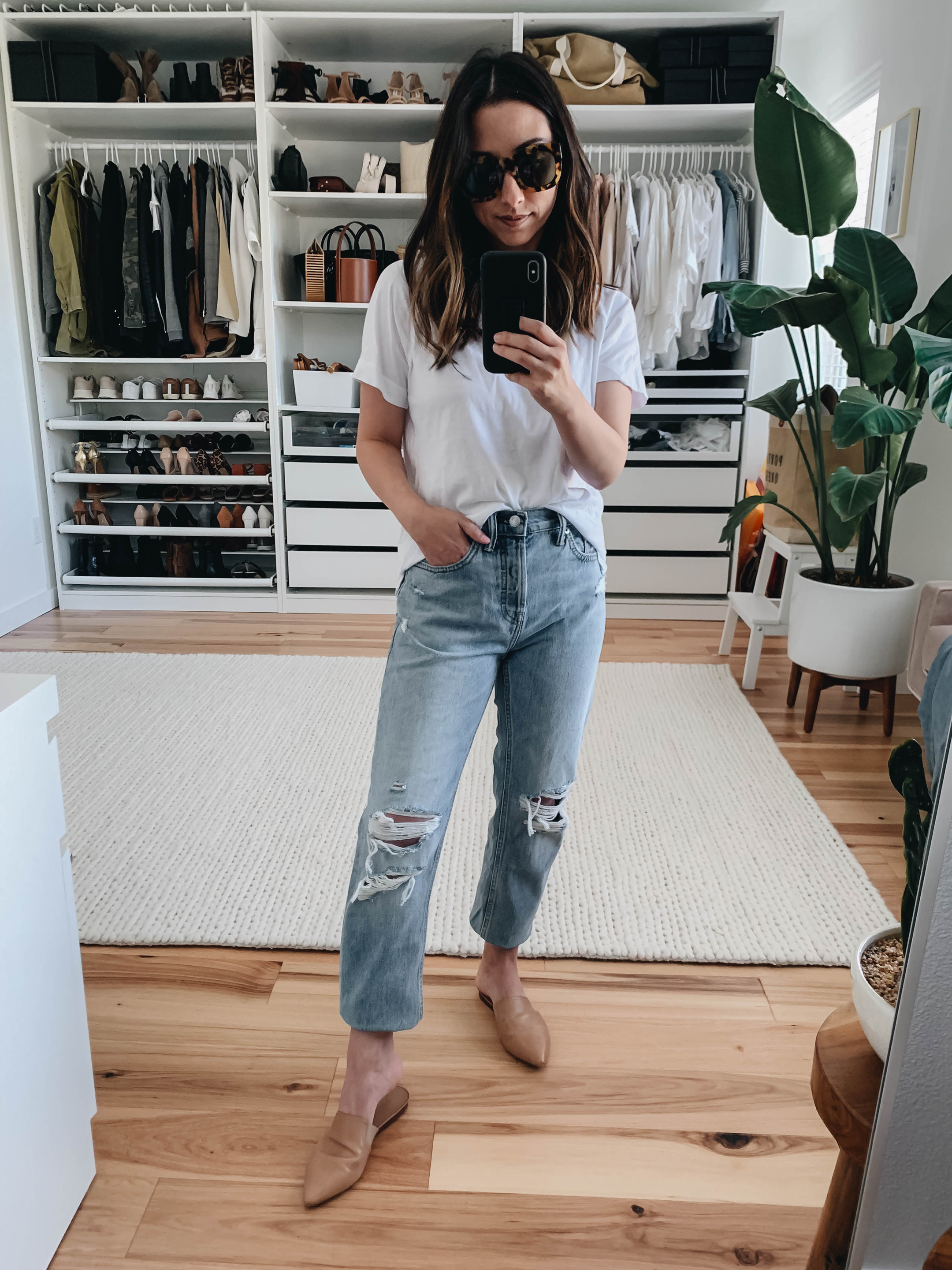 Everlane distressed boyfriend jeans